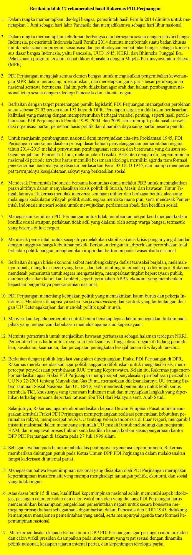 17 Poin Rakernas PDI-P 2013, sumber
