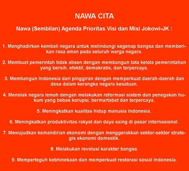 """""""Selain menyampaikan visi dan misi pencalonan presiden dan wakil presiden, pasangan Joko Widodo dan Jusuf Kalla juga menyertakan sembilan agenda prioritas untuk mewujudkan visi dan misi mereka. Agenda ini disebut sebagai Nawa Cita."""" (Kompas.com 20/5/2014)"""