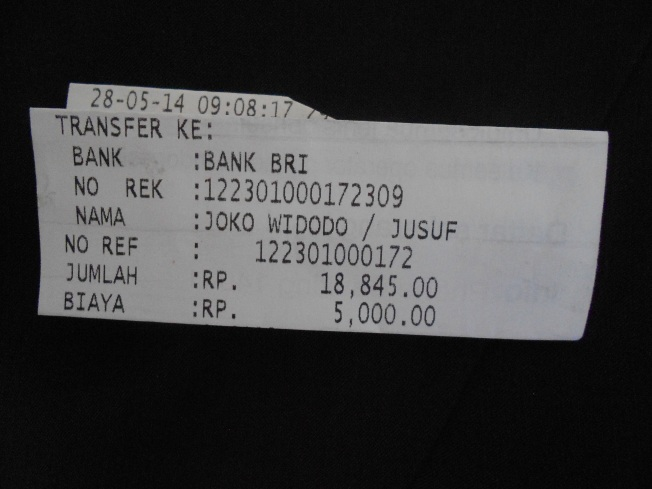 Resi (yang dilipat-lipat) dari ATM setelah Redaksi Dasar Kita transfer sebesar Rp 18.845 * kerekening a/n Joko Widodo / Jusuf Kalla Bank BRI No Rek 122301000172309.