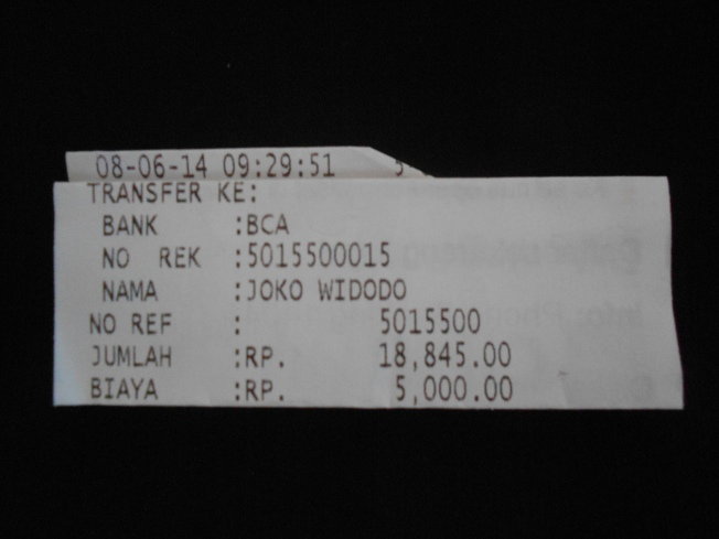 Resi ATM (dilipat-lipat) setelah Redaksi Dasar Kita transfer sebesar Rp 18.845 * ke rekening a/n Joko Widodo Bank BCA  No Rek 5015.500015 pada 8 Juni 2014