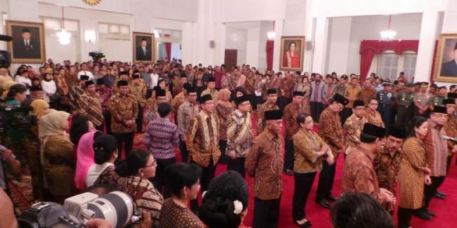 Sabrina Asril/KOMPAS.com Pelantikan 34 menteri di Istana Negara, Jakarta