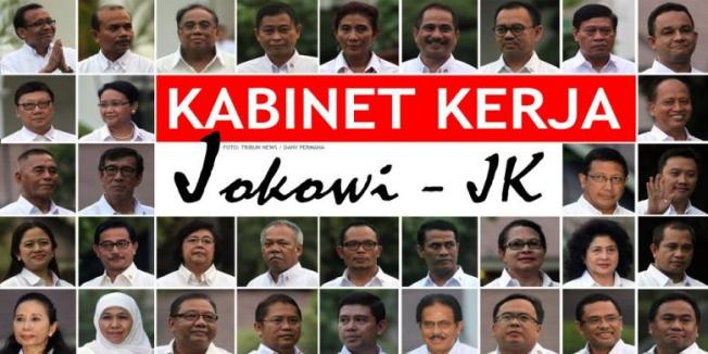 Menteri-menteri Kabinet Kerja yang dipilih Presiden Joko Widodo dan Wakil Presiden Jusuf Kalla di Istana Negara, Minggu (26/10/2014). TRIBUN NEWS / DANY PERMANA