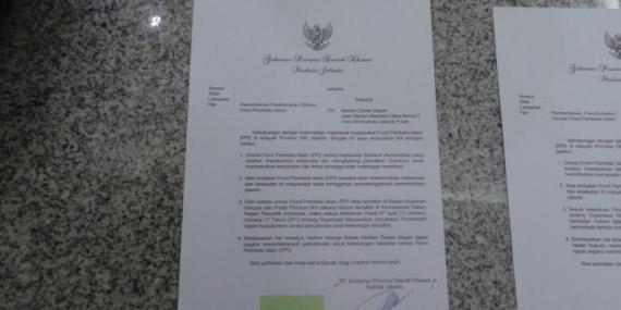 KOMPAS.COM/KURNIASARI AZIZAH Surat rekomendasi Plt Gubernur DKI Jakarta Basuki Tjahaja Purnama soal pembubaran FPI kepada Menteri Hukum dan HAM Yasonna Laoly dan Menteri Dalam Negeri Tjahjo Kumolo