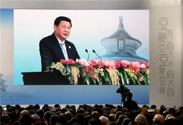 Presiden Xi Jinping berbicara untuk membuka Asia Pacific Economic Cooperation (APEC) CEO Summit di Beijing, pada 9 November 2014. [Foto oleh Xu Jingxing/Asianewsphoto]