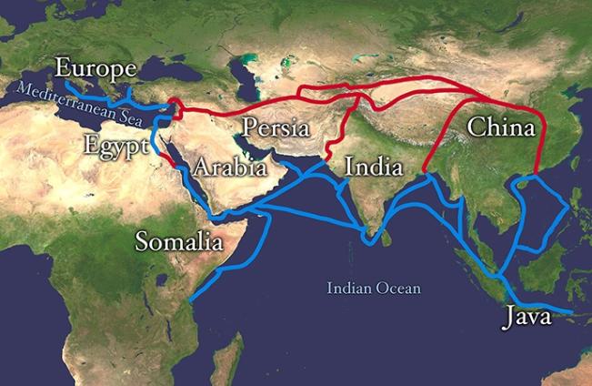Rute utama Jalan Sutra (Gambar dari wikipedia.org)